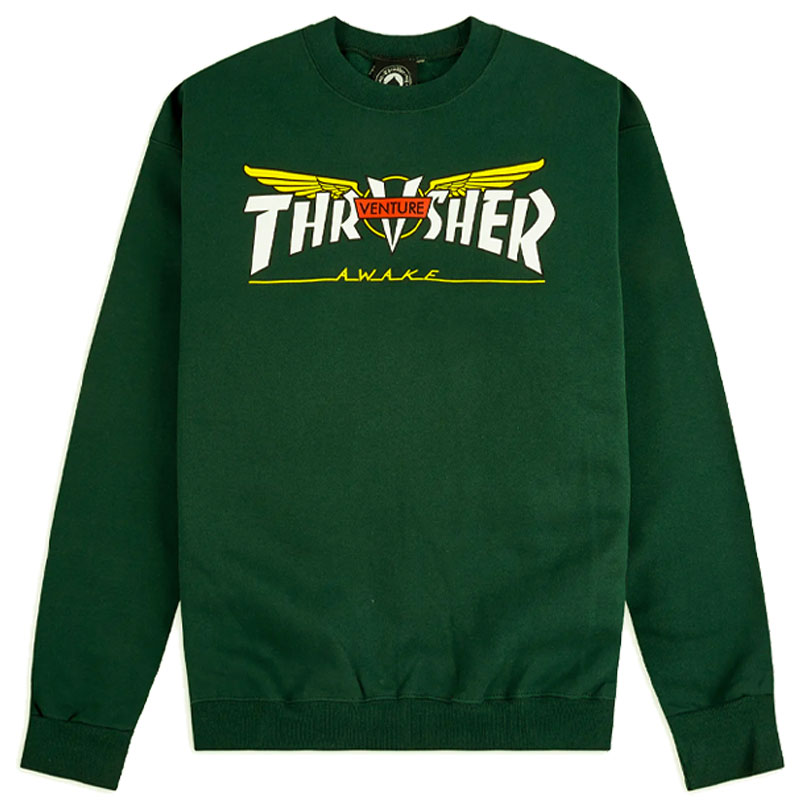 Thrasher x Venture Crewneck Sweater Forest Green