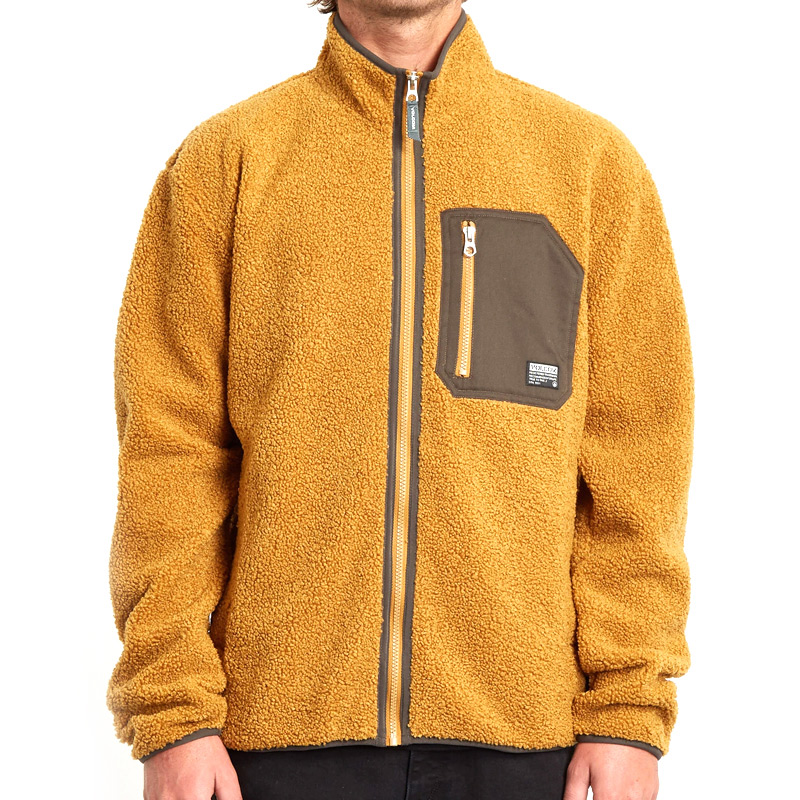Volcom Muzzer Fuzzar Zip Sweater Golden Brown