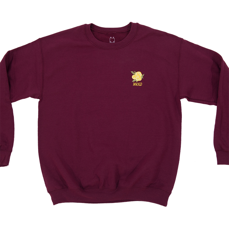 WKND Flower Embroidered Crewneck Sweater Maroon