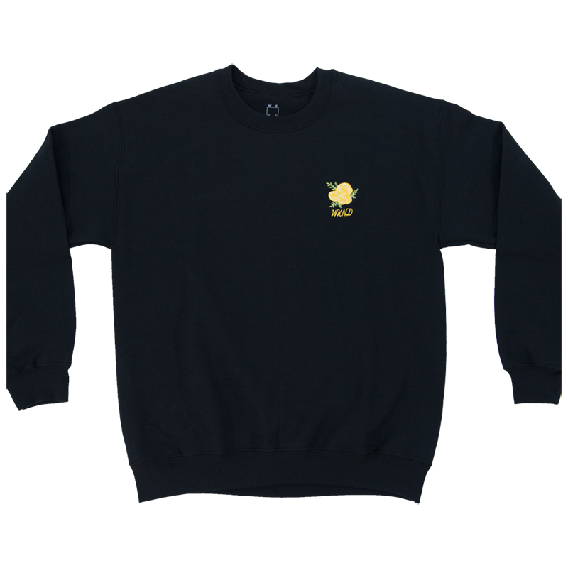 WKND Flower Embroidered Crewneck Sweater Black