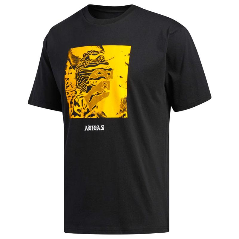 adidas Manolesalias T-Shirt Black/Actgol/White