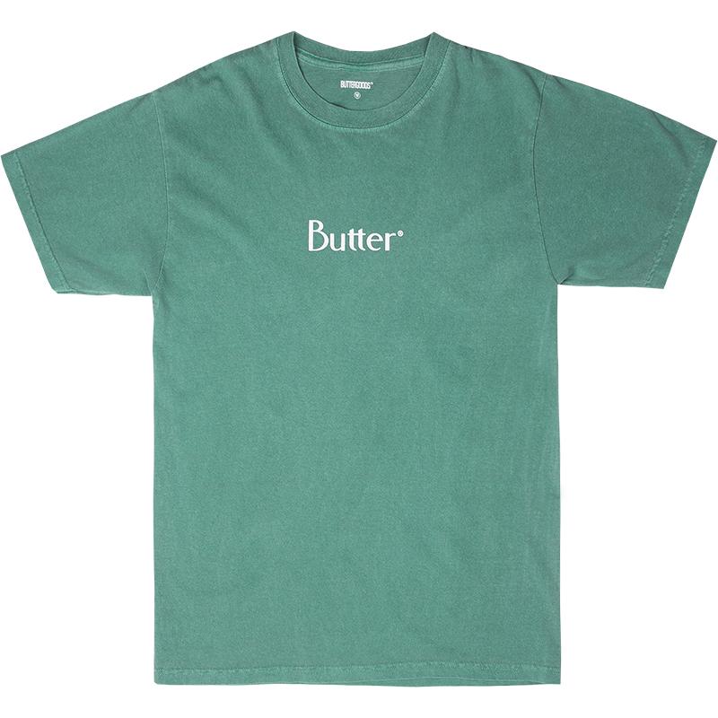 Butter Goods Classic Logo T-Shirt Pigment Dye Seafoom
