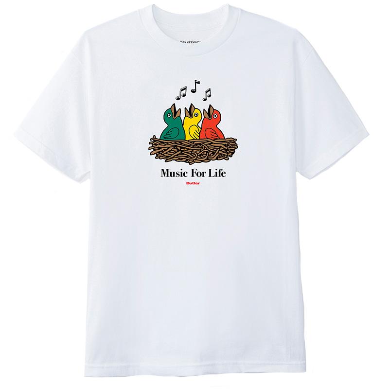 Butter Goods Music For Life T-Shirt White
