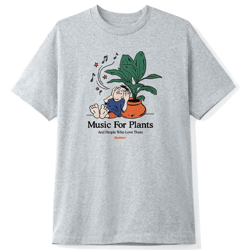 Buttergoods Music For Plants T-Shirt Ash Grey
