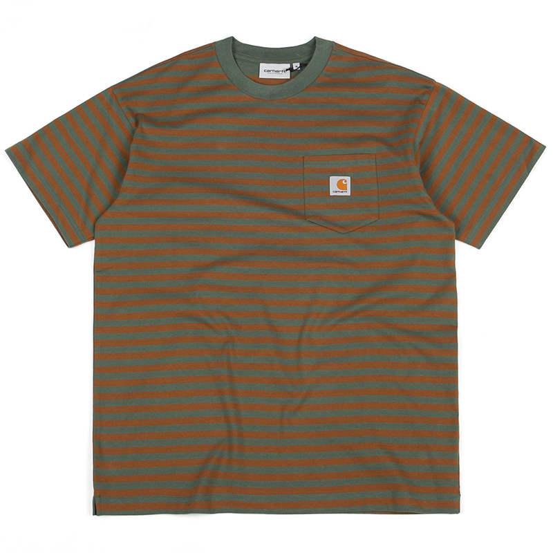 Carhartt Barkley Pocket T-Shirt Stripe Adventure/Hamilton Brown