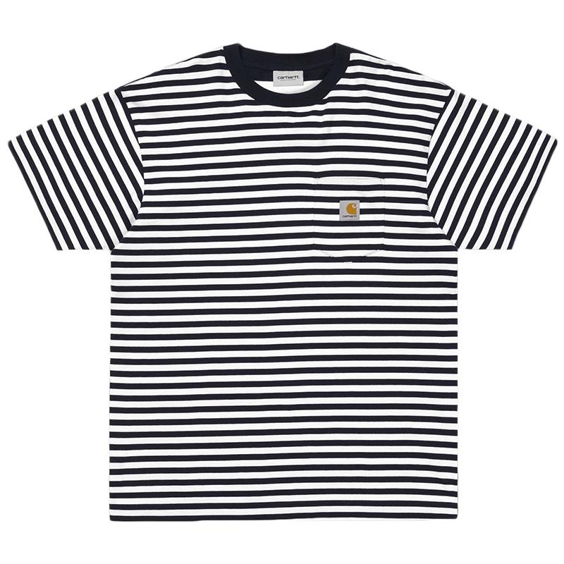 Carhartt Barkley Pocket T-Shirt Dark Navy/White