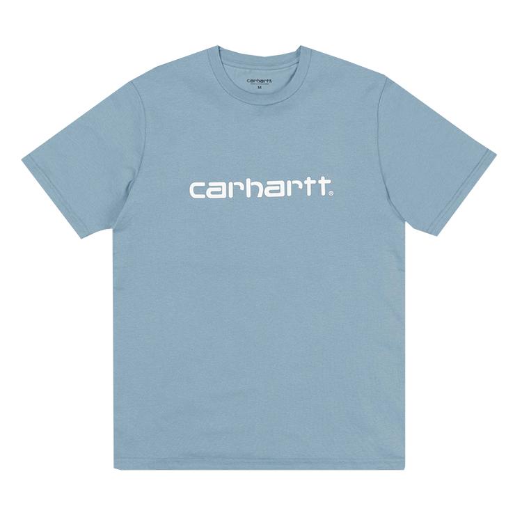 Carhartt Script T-shirt Dusty Blue/White