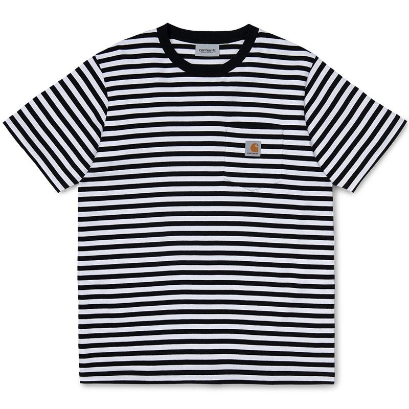 Carhartt WIP Haldon Pocket T-Shirt Haldon Stripe Black/White