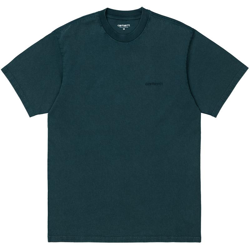 Carhartt WIP Mosby Script T-Shirt Deep Lagoon Acid Wash