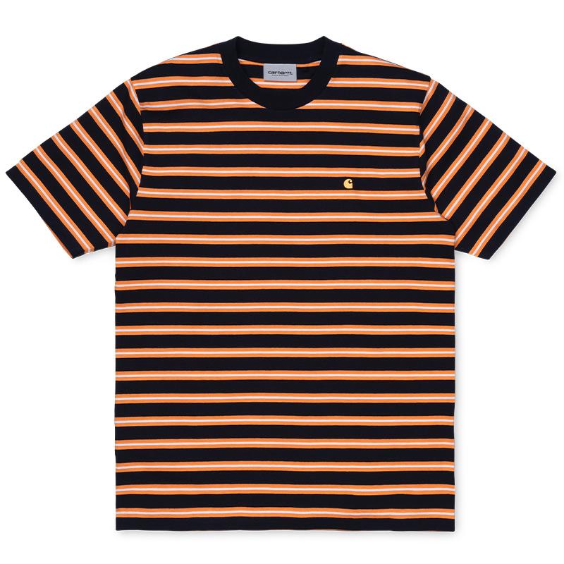 Carhartt WIP Oakland T-Shirt Oakland Stripe/ Dark Navy/Pop Orange Stripe