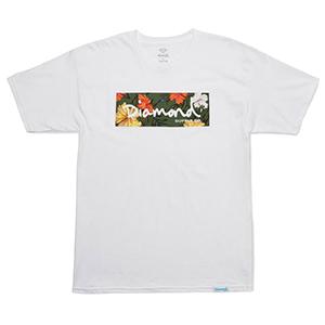 Diamond Aloha Floral Box Logo T-Shirt White