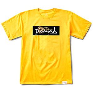 Diamond Gold Rose Box Logo T-Shirt Gold