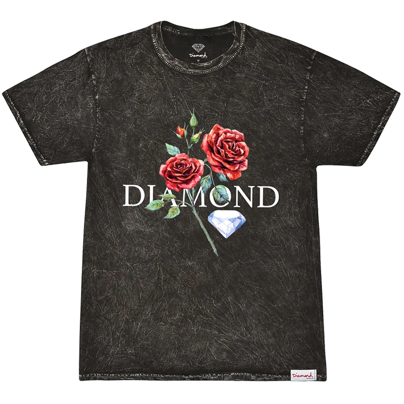 Diamond Red Rose T-Shirt Mineral Wash Black