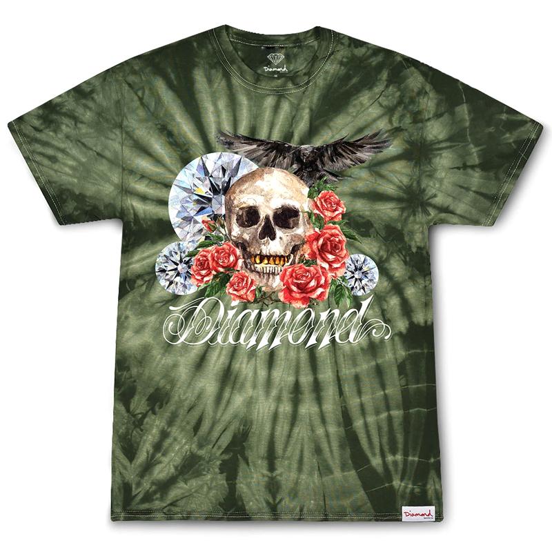 Diamond Skull And Crow Tie Dye T-Shirt Green