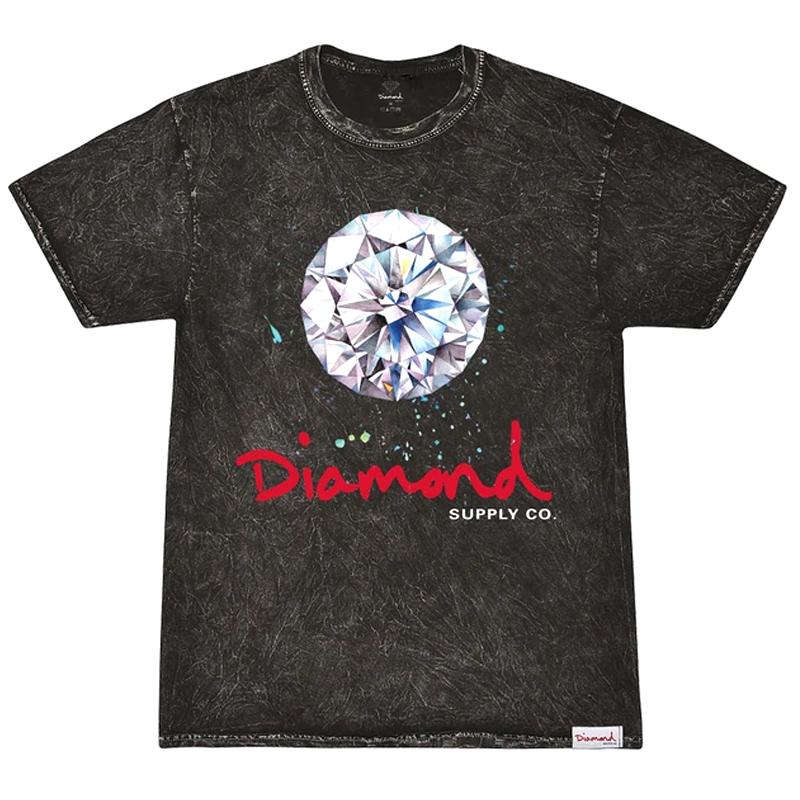 Diamond Splash Sign Mineral Wash T-Shirt Black
