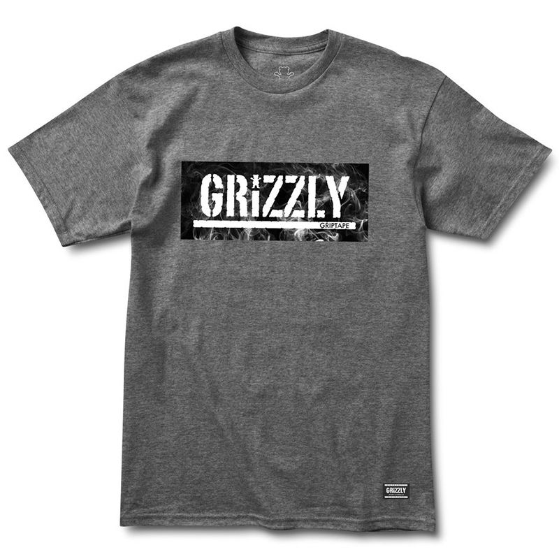 Grizzly Hot Box Logo Stamp T-Shirt Charcoal Heather