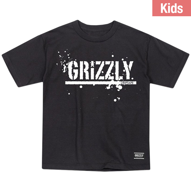 Grizzly Kids Splatter Stamp T-Shirt Black