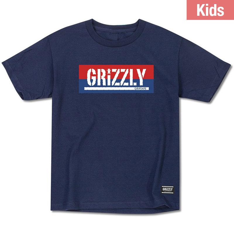 Grizzly Kids Split Stamp T-Shirt Navy