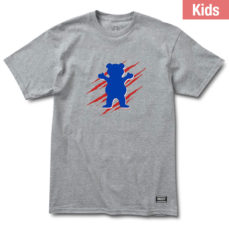 Grizzly Kids Wound Og Bear T-Shirt Heather Grey