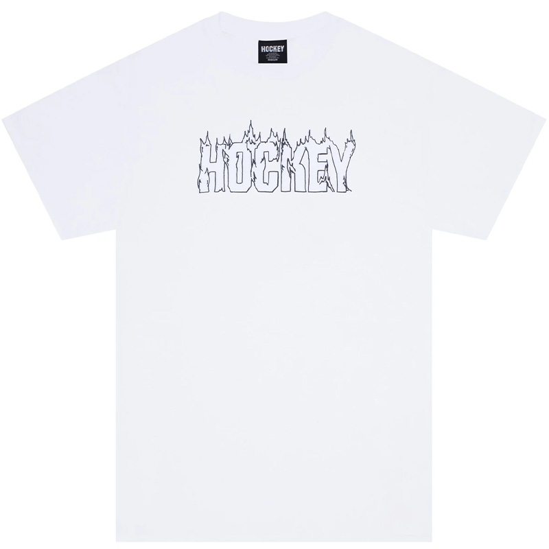 Hockey Up In Flames T-Shirt White