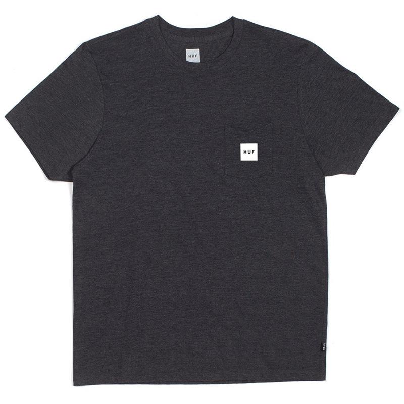 HUF Box Logo Pocket T-shirt Charcoal Heather