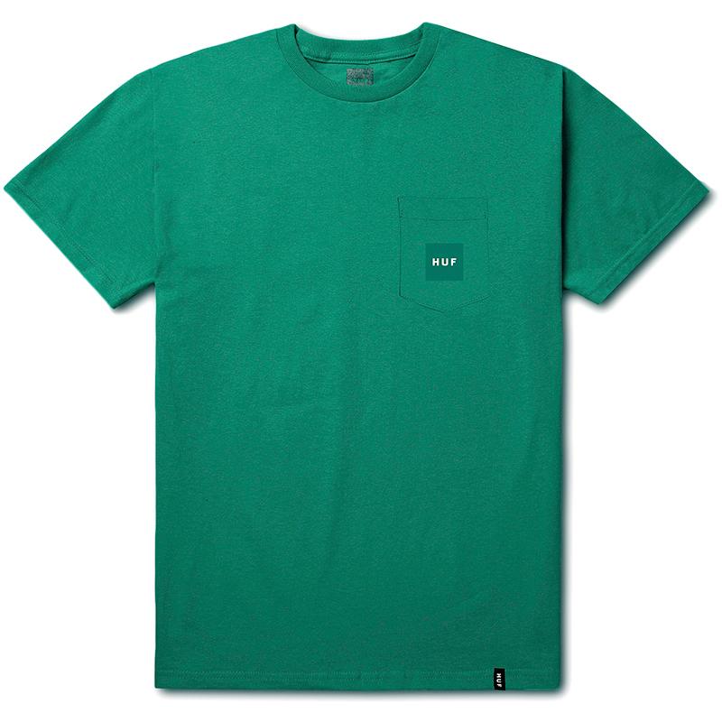 HUF Box Logo Pocket T-shirt Woven Lab Emerald