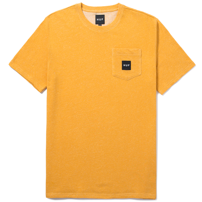HUF Heather Box Logo Pocket T-shirt Mustard