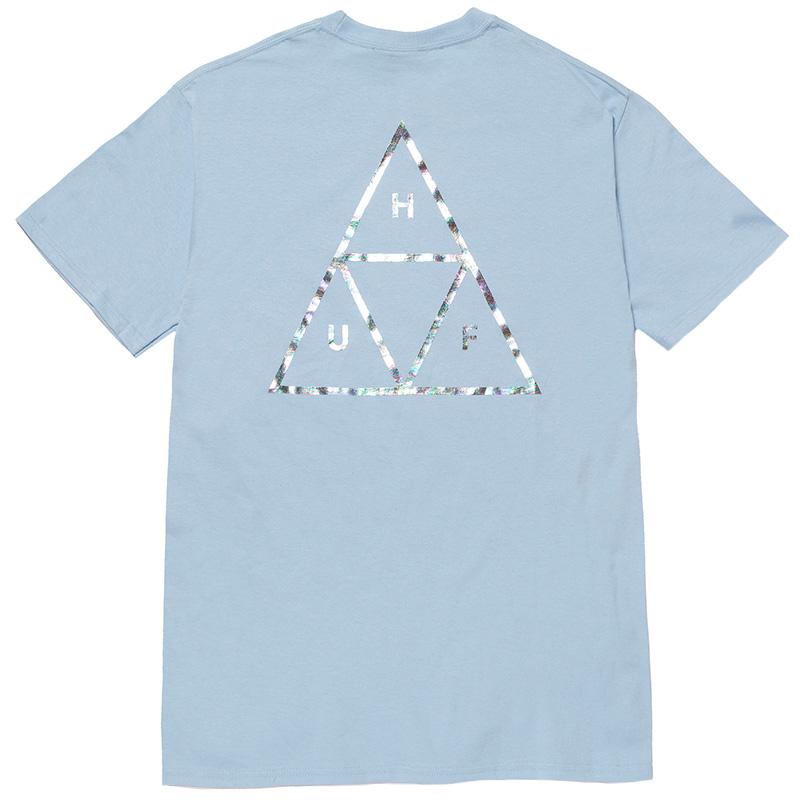 HUF Holoshine Foil Triple Triangle T-Shirt Light Blue