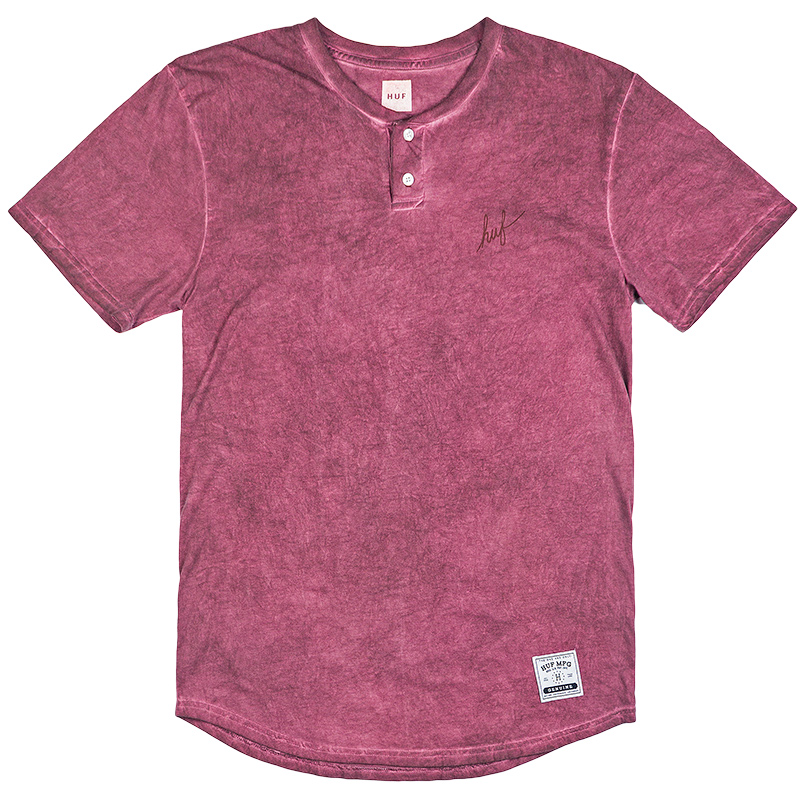 HUF Script Enzyme Wash Henley T-Shirt Wine