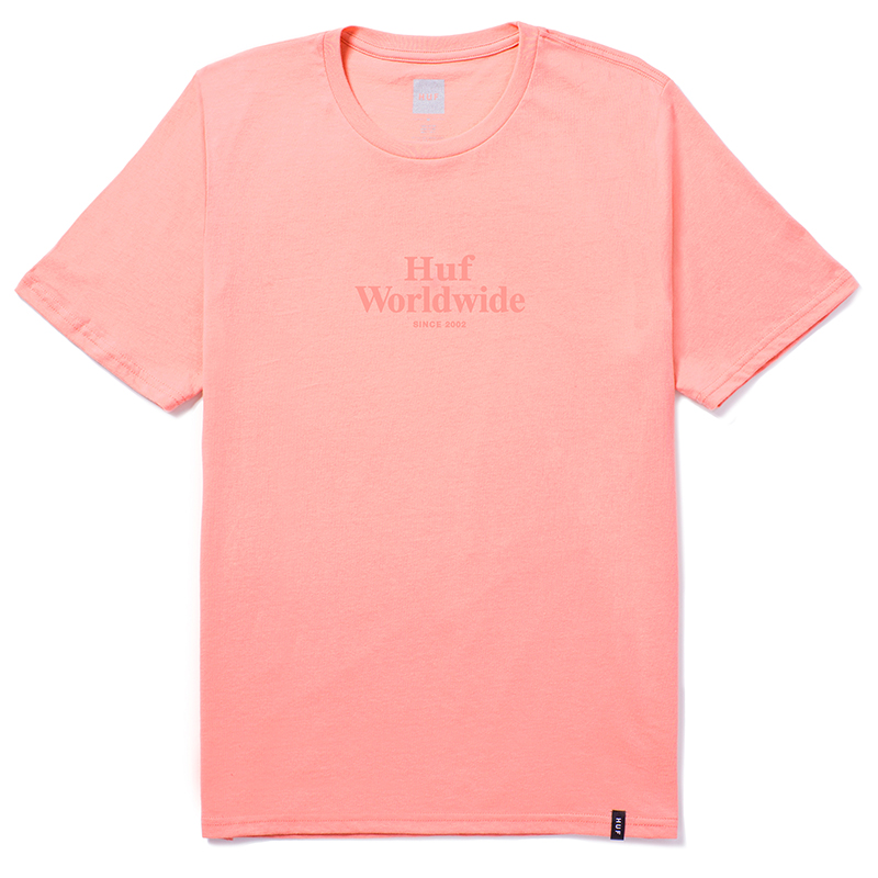 HUF Worldwide Overdye T-Shirt Coral