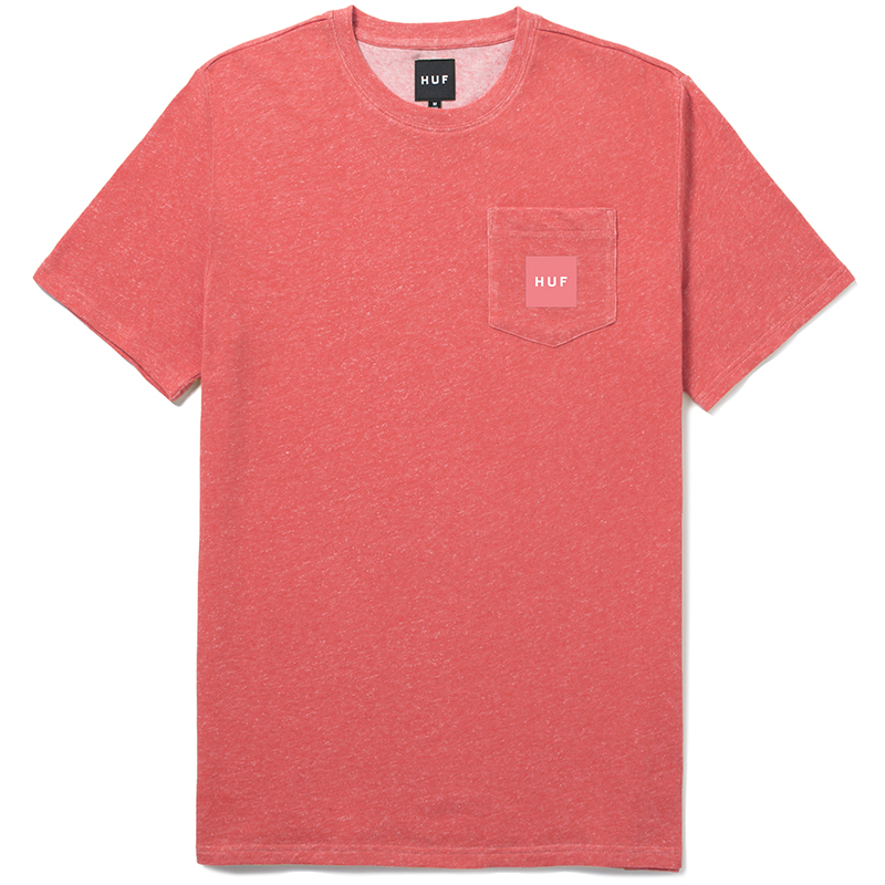 HUF Woven Label Pocket T-Shirt Coral