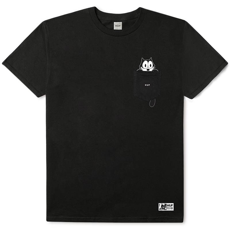 HUF X Felix The Cat Watching Pocket T-shirt Black