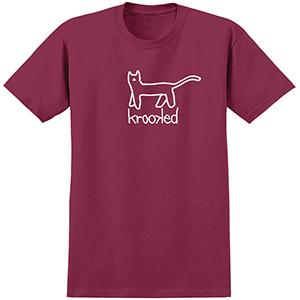 Krooked Big Kat T-Shirt Burgundy/White
