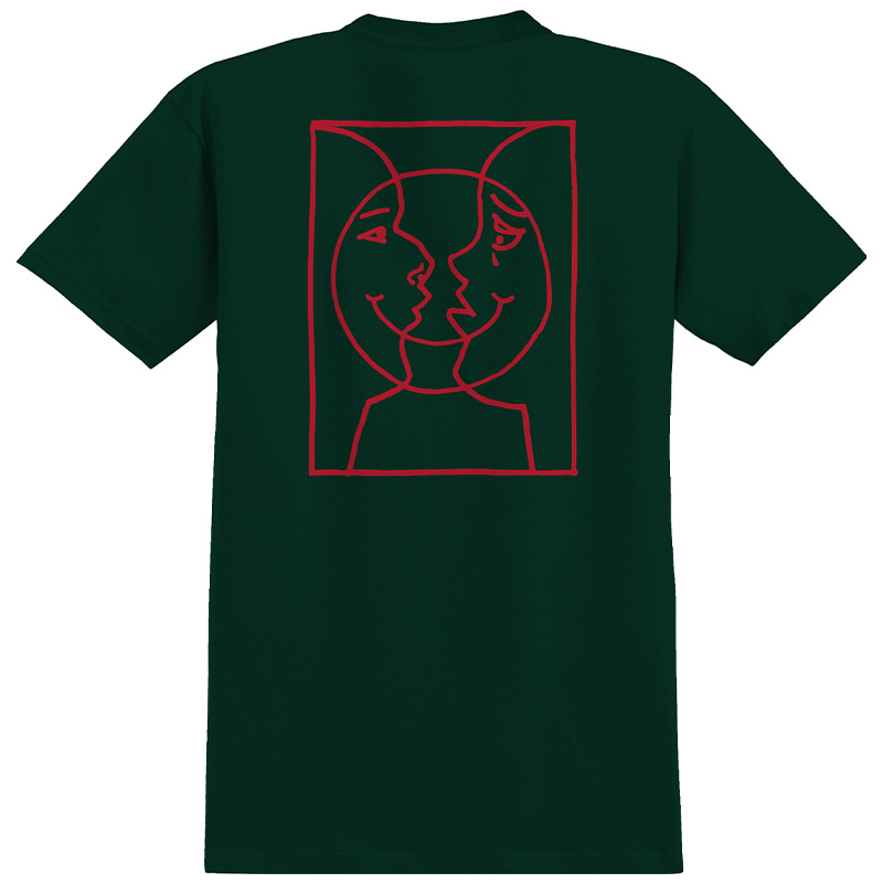 Krooked Moon Smile Raw T-Shirt Forrest Green
