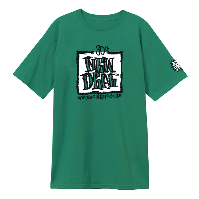 New Deal WTF 30th Anniversary Napkin Logo T-Shirt Green