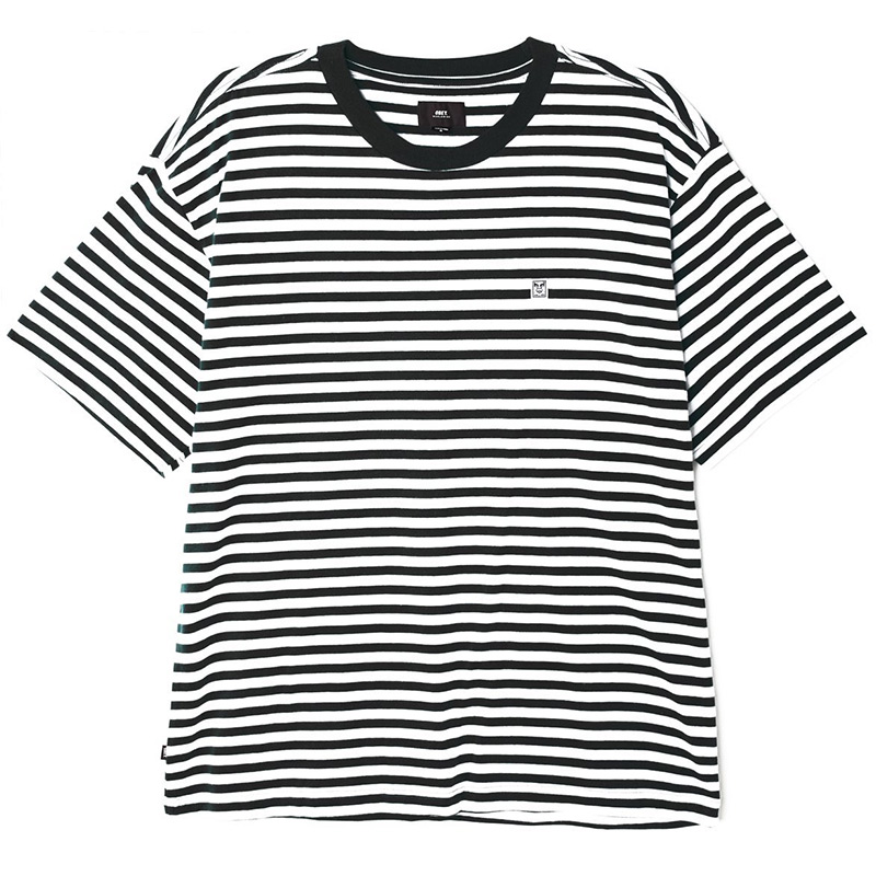 Obey 89 Icon Stripe Box Tee III T-Shirt Black Multi