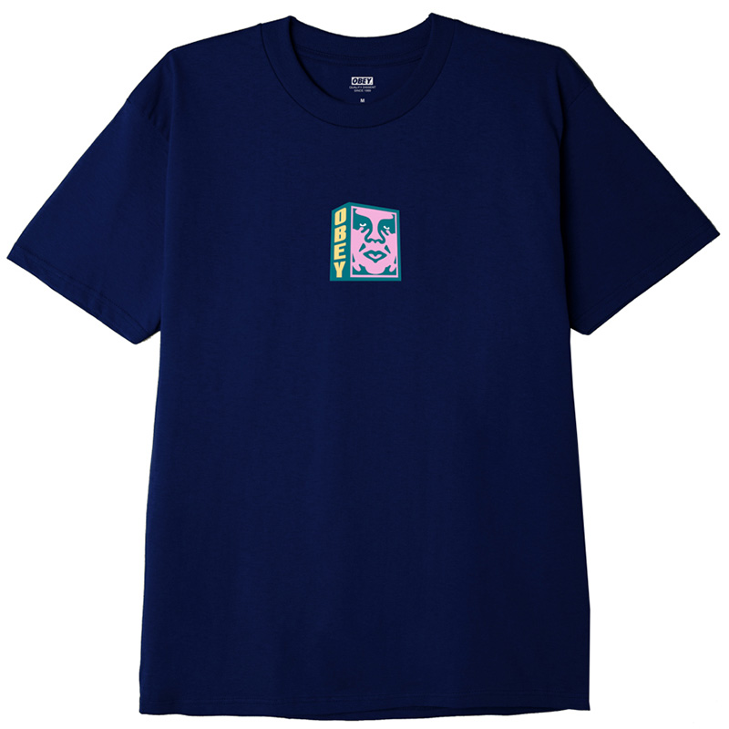 Obey Face T-Shirt Navy