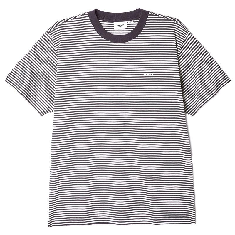 Obey Ideals Organic Stripe T-Shirt Aqua Multi