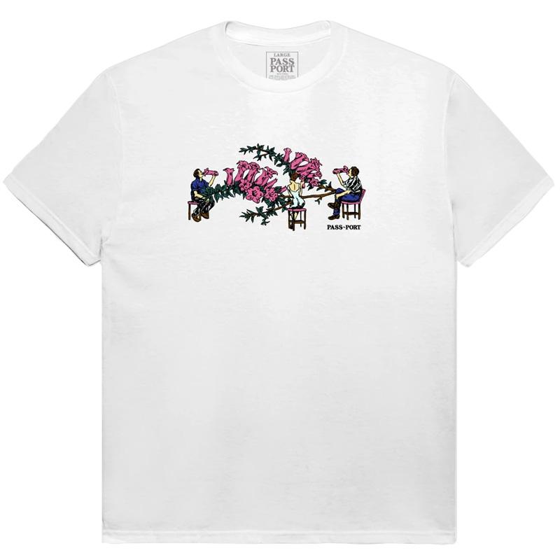 Pass-Port Floral Bar T-shirt White