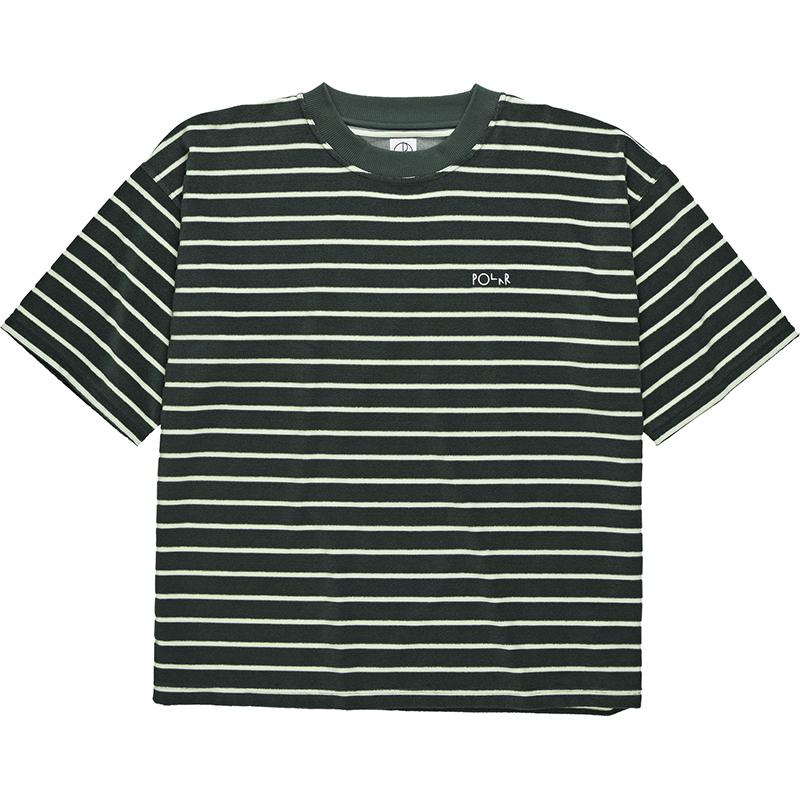 Polar Striped Terry Surf T-Shirt Dark Green/Light Green