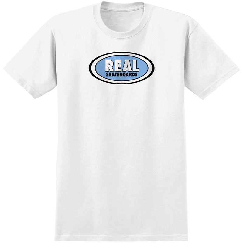 Real Oval T-Shirt White/Light Blue Print