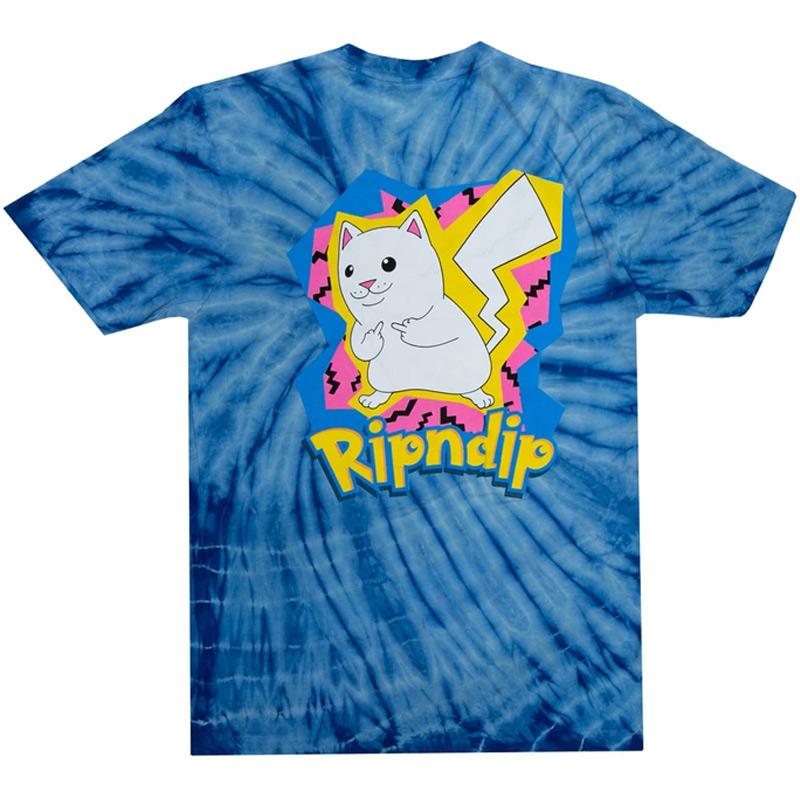 RIPNDIP Catch Em All T-Shirt Blue Spiral Dye