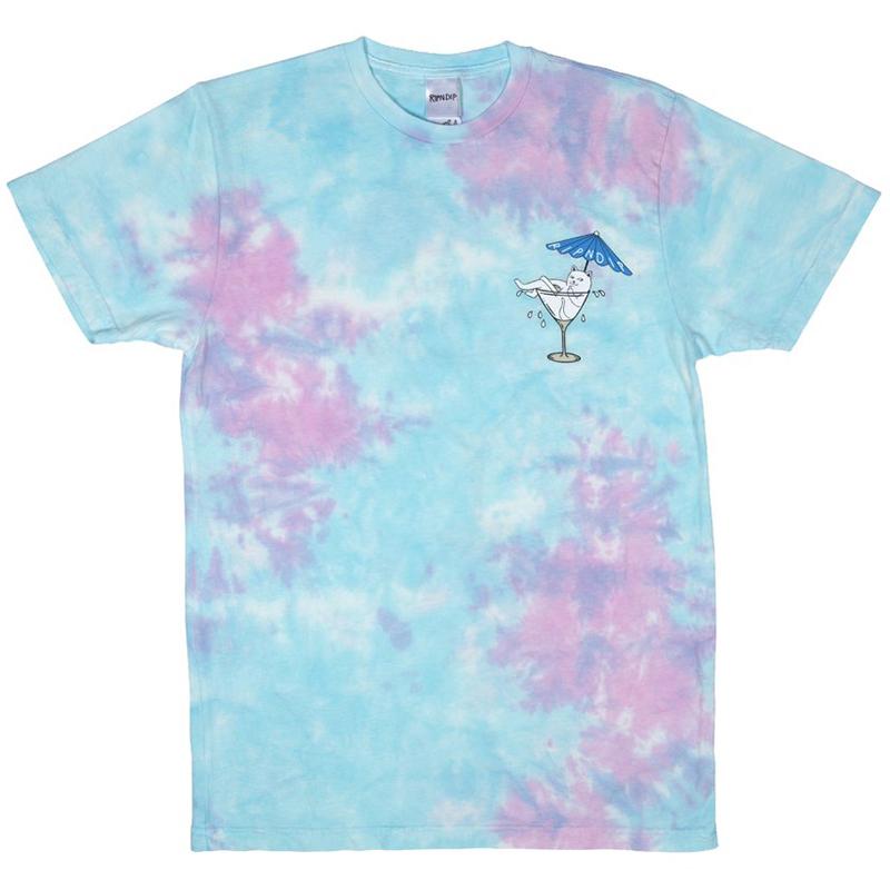 RIPNDIP Dirty Nermtini T-Shirt Blue/Pink Acid Wash