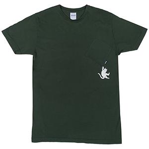 RIPNDIP Hang In There Pocket T-Shirt Hunter Green