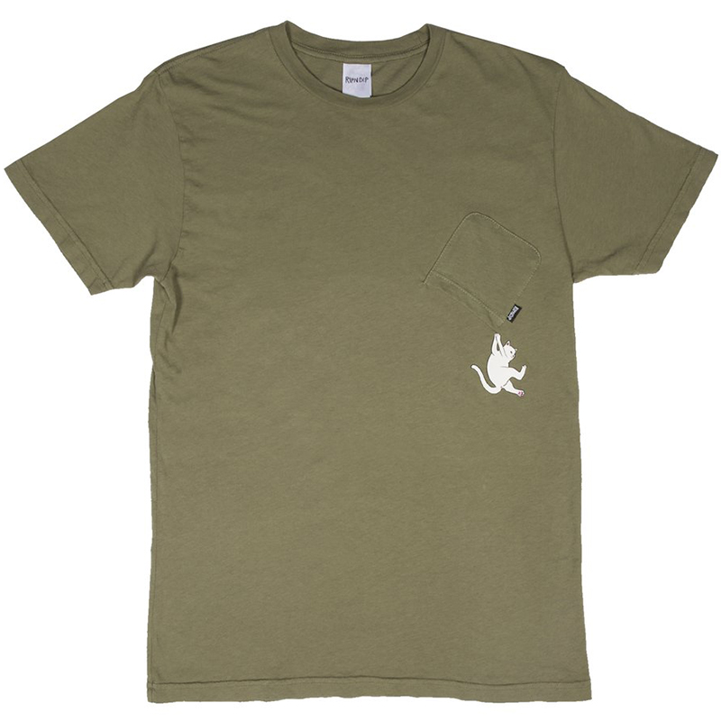 RIPNDIP Hang In There Pocket T-Shirt Moss