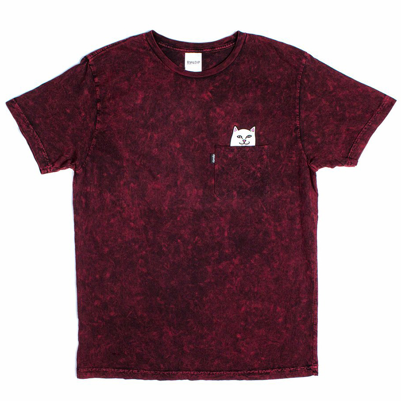 RIPNDIP Lord Nermal Pocket T-Shirt Burgundy Mineral Wash