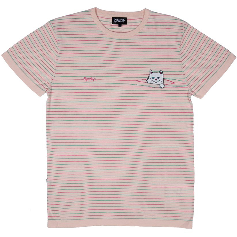 RIPNDIP Peeking Nermal Knit T-Shirt Light Pink/Teal