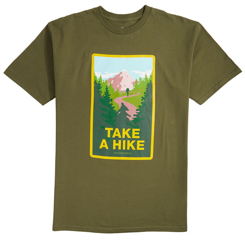 Skate Mental Take A Hike T-Shirt Military Green