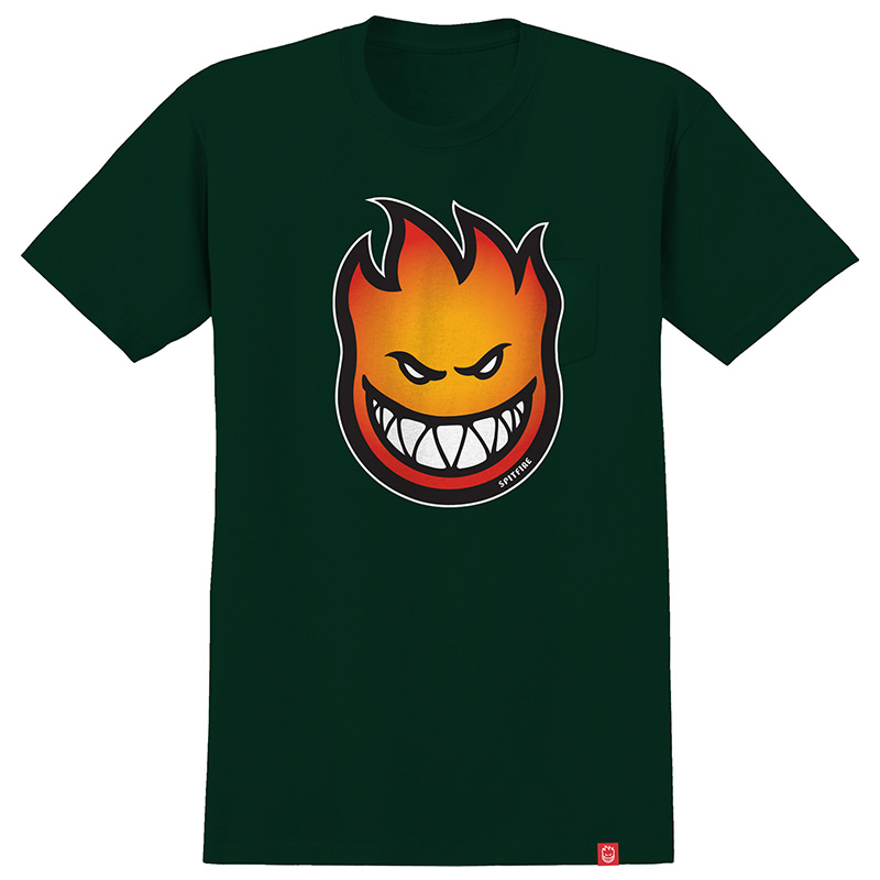 Spitfire Bighead Fade Fill T-Shirt Forrest Green/Red