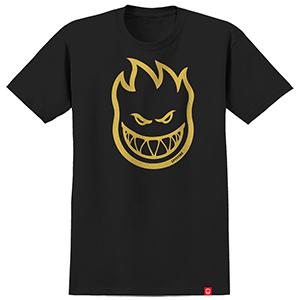 Spitfire Bighead T-Shirt Black/Yellow Gold